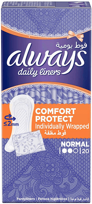 Always Daily Liners Comfort Protect Normal Individually Wrapped 20 pcs panty liners box