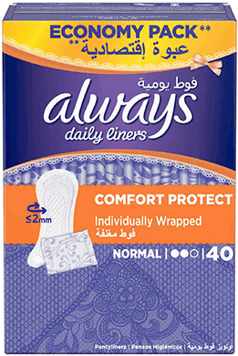 Always Daily Liners Comfort Protect Normal Individually Wrapped 40 pcs panty liners box