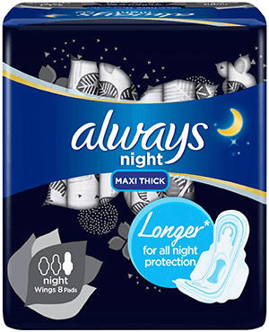 Always Clean & Dry Maxi Thick Night pads with wings 8 pcs