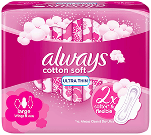 Always Soft Ultra Thin Large  pads with wings 8 pcs
