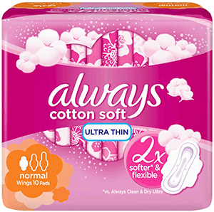 Always Soft Ultra Thin sanitary pads with wings, 10 pcs