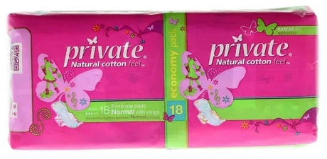 Private Pads Normal with wings 18 pcs
