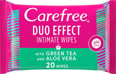 Carefree Duo Effect  Wipes with Green Tea and Aloe Vera 20 sheets
