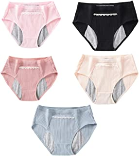FENICAL Menstrual Underwear Breathable Period Panties Protective Cotton Panties Seamless Sanitary Briefs with Pocket for Women Postartum Inconvience 3pcs (Size L)
