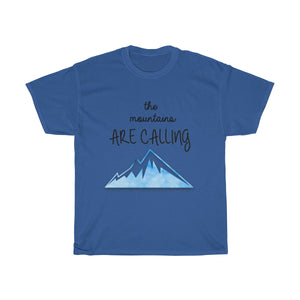 "FOX HIKE™ - ""MOUNTAINS ARE CALLING"" UNISEX COTTON TEE - Fox Hike Hiking Gear Outdoor Trekking Survival"
