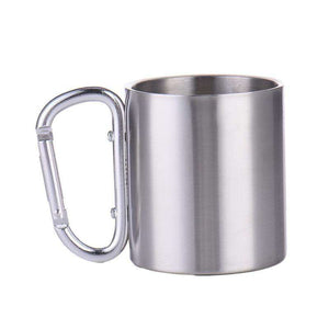 Carrabiner Stainless Steel Camping Cup - Fox Hike Hiking Gear Outdoor Trekking Survival