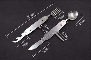 Foldable Spoon Fork Knife Set - Fox Hike Hiking Gear Outdoor Trekking Survival