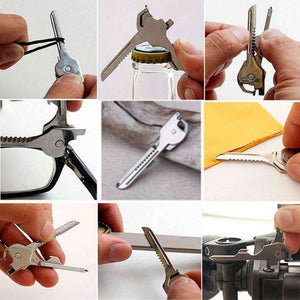 6 in 1 Stainless Steel EDC Keychain Utiliity - Fox Hike Hiking Gear Outdoor Trekking Survival