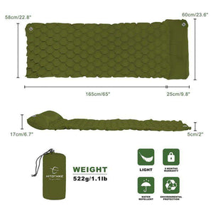 Inflatable Sleeping Pad With Pillow - Fox Hike Hiking Gear Outdoor Trekking Survival