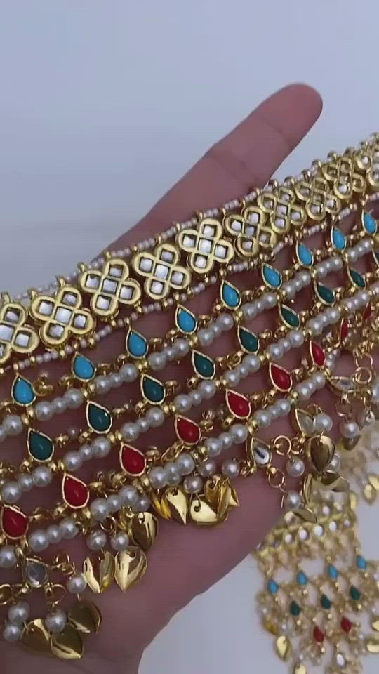 Multicoloured Kundan Flexible Choker Necklace Earrings Tikka Set