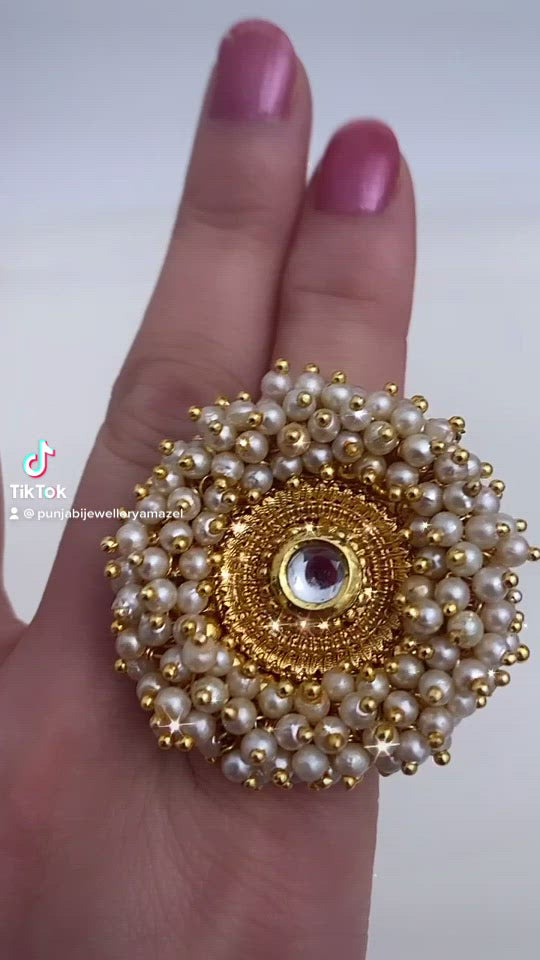 Golden Kundan Pearly Ring