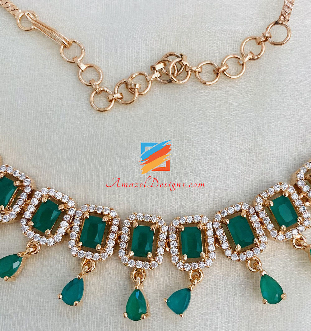 AD American Diamond Green Golden Single Line Necklace