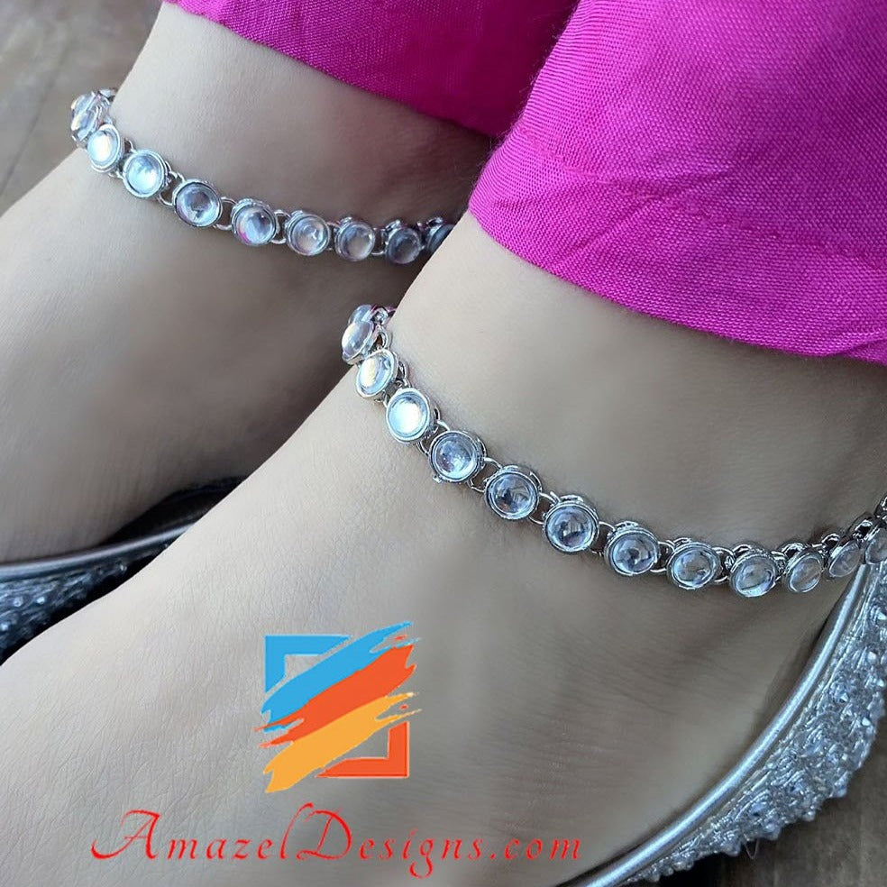 American Diamond AD Elegant Silver Payal