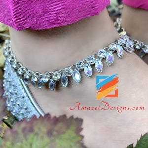 AD Silver Payal With Stones