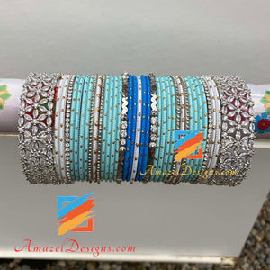 American Diamond AD Blue Bangle Set