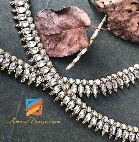 American Diamond AD Payal White Beads