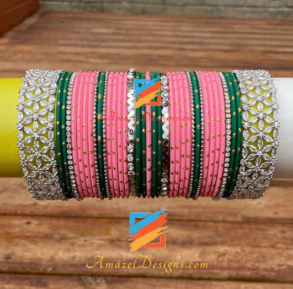 American Diamond AD Pink Green Bangle Set