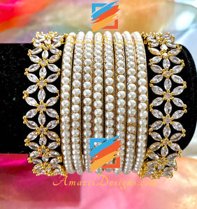 American Diamond AD White Beads Bangle Set