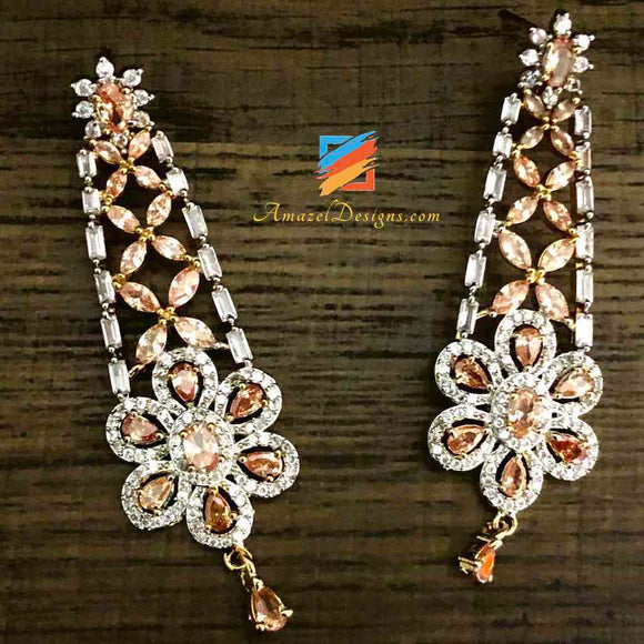 American Diamond (AD) Copper Silver Earrings