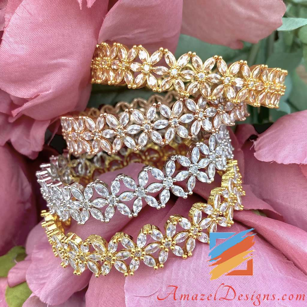 American Diamond AD Kada Cream Beads Bangles Set