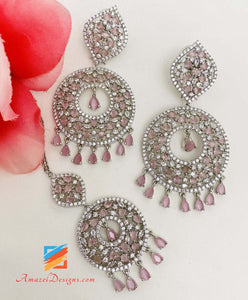 American Diamond (AD) Pink Silver Earrings Tikka Set