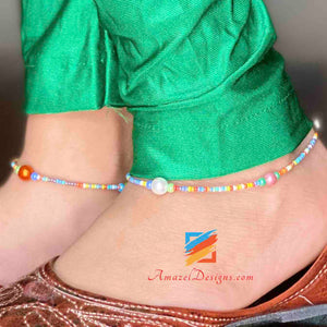 Multicolored Beads Anklets
