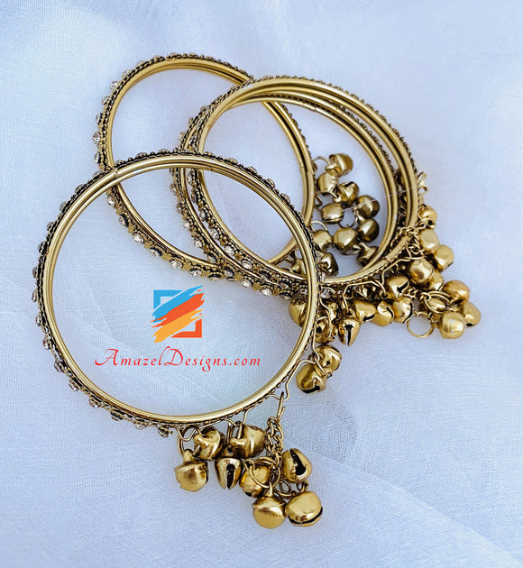 Antique Gold Stone Bangles with hanging Bells (Ghungroo)
