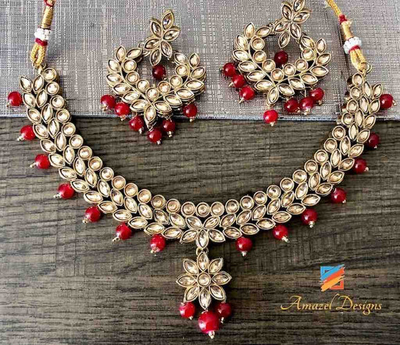 Gorgeous Red Necklace and Earring Set