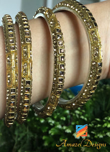 Kundan and Stone Bangle Golden Touch 2.6 in - Pair