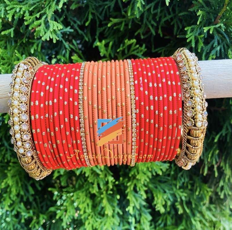 Red and Peach Bangle Set