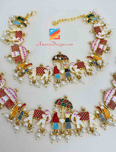 Baraat/Doli Colorful Necklace Earrings OR Payal OR Combo Options