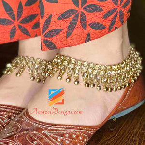 Dark Champagne Color Stones Payal with Ghungroo (bells)