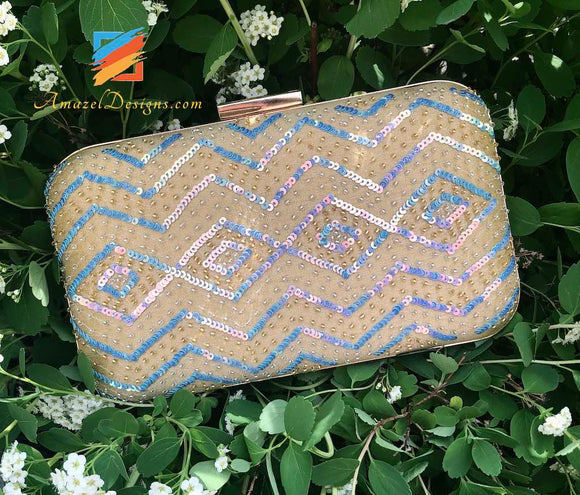 Beige Clutch with Sky Blue and Golden Beads work