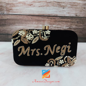 Black Clutch With Golden Pearls