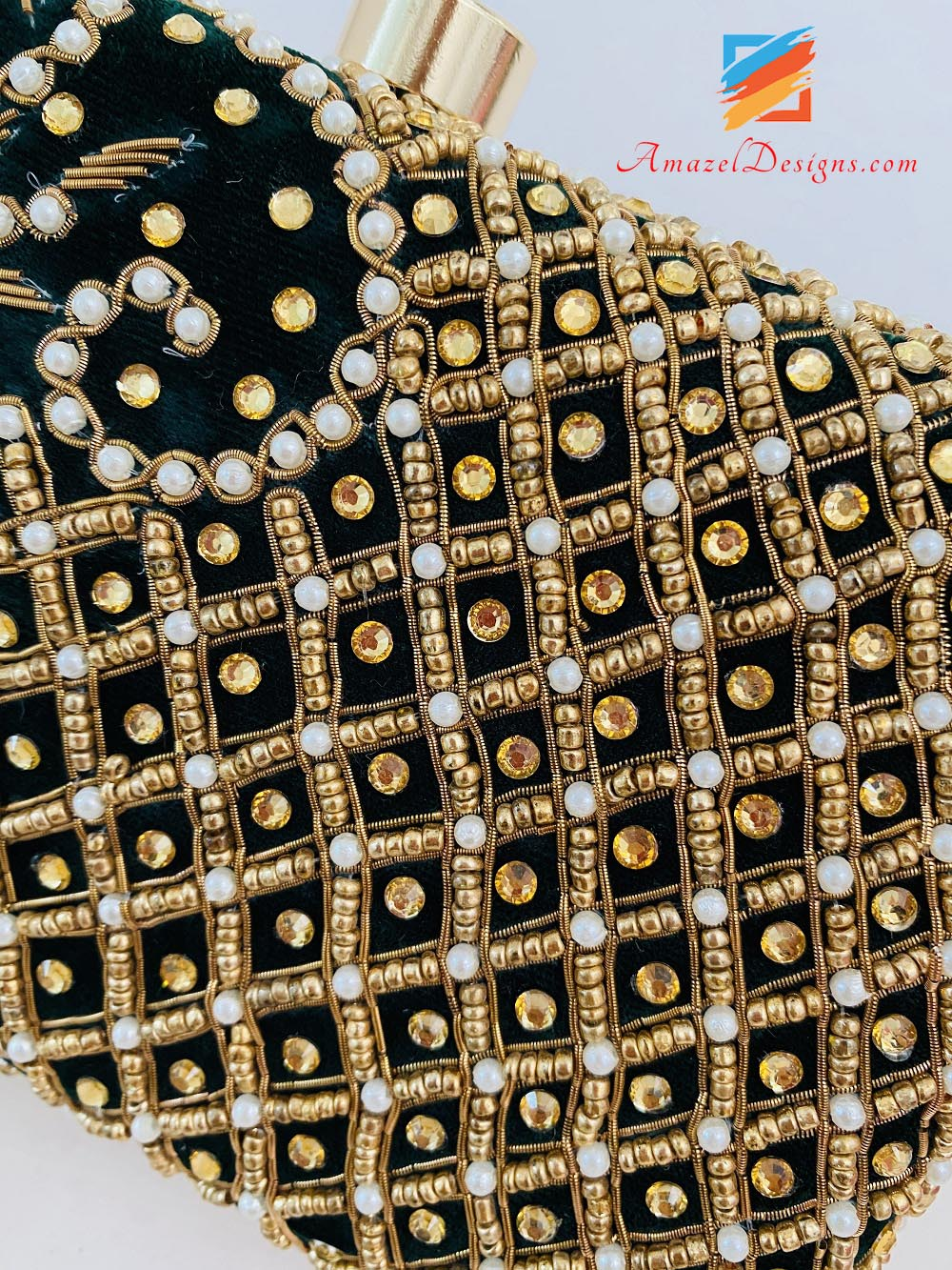 Black Clutch Both Sides Heavy Work Of Stones, Pearls And Dabka