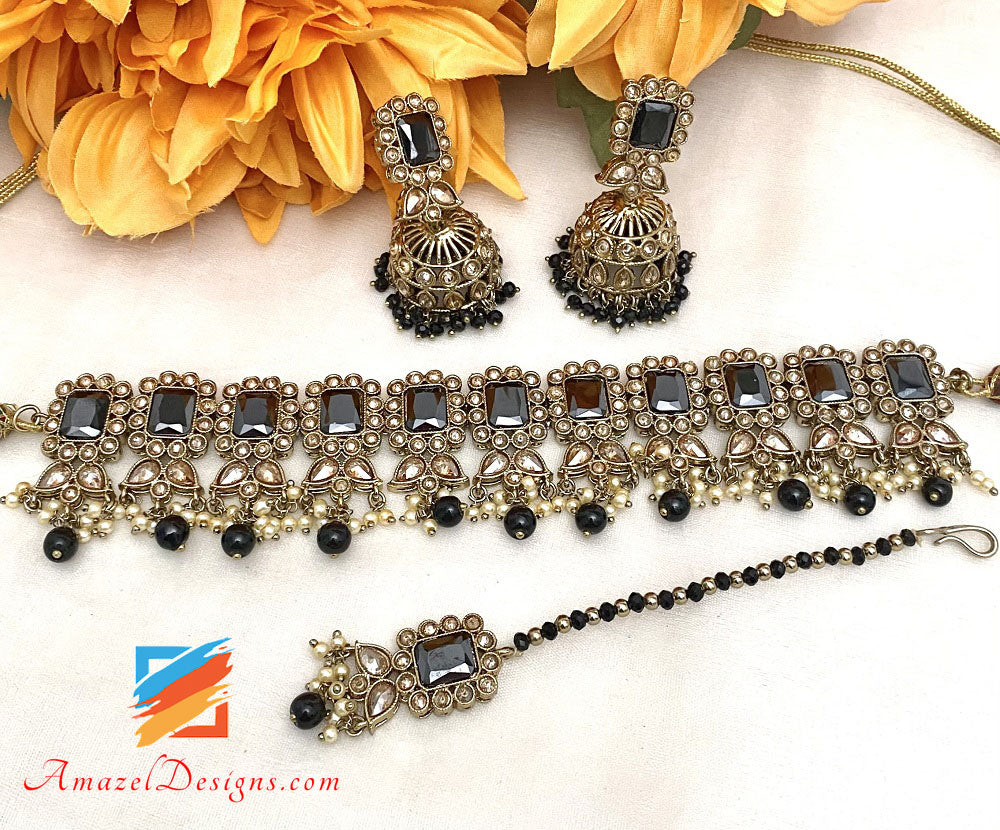 Black Polki Choker Necklace Jhumki Earrings Tikka Set