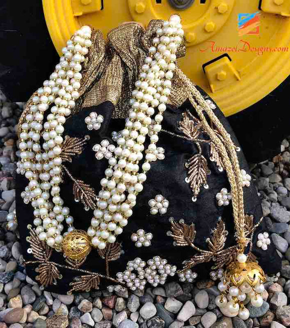 Black And Golden Potli Bag