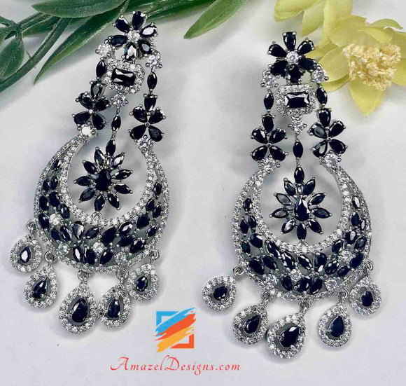 Black and Silver American Diamond (AD) Earrings