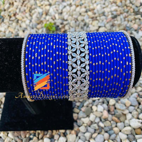 Blue American Diamond AD Bangle Set