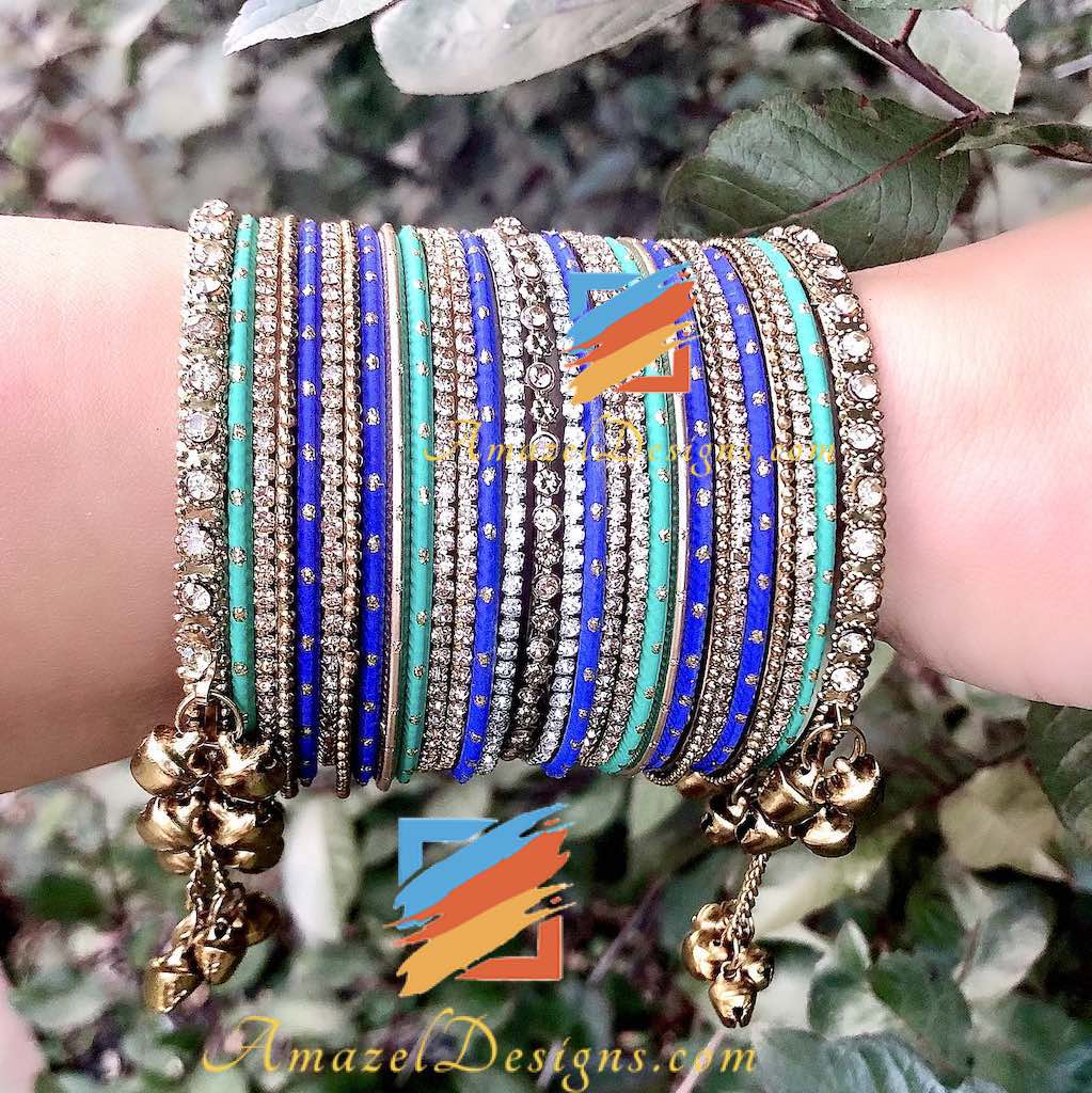 Blue Green Ghungroo Kada Bangle Set