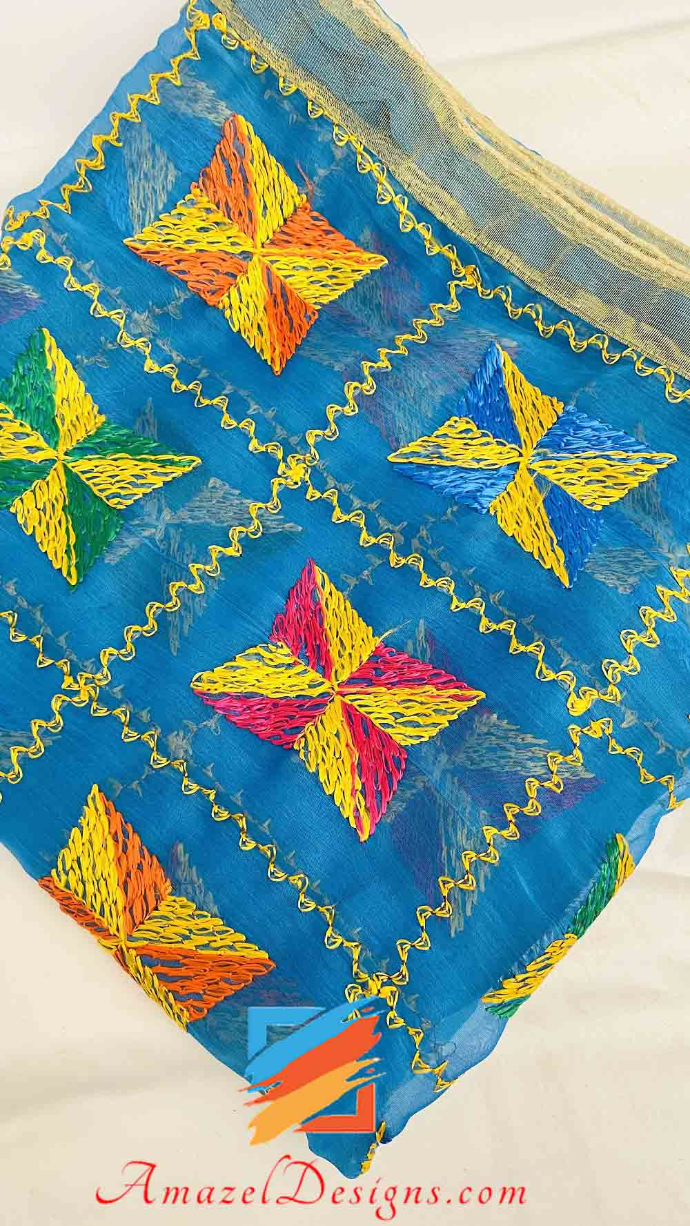 Blue Phulkari With Golden Tissue Lace