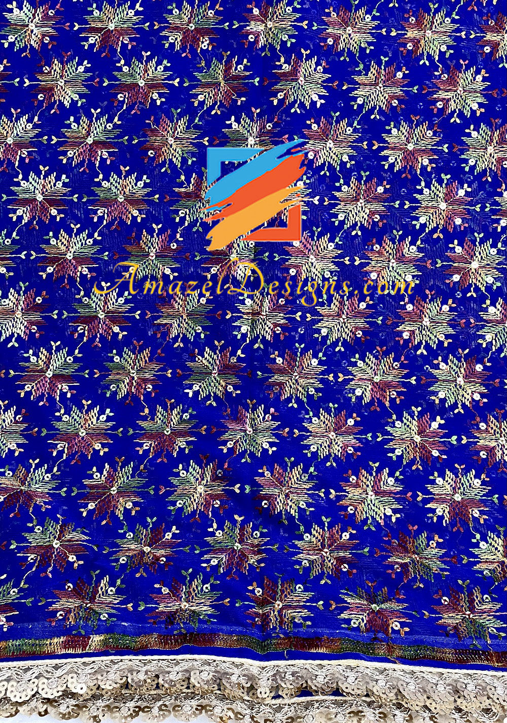 Blue Sippi Sitara Phulkari With Gotta