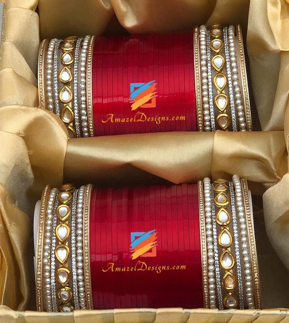 Bridal Chooda American Diamond (AD) Kundan Bangles.