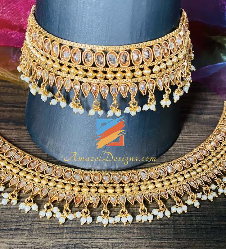 Very High Quality Polki Golden Payal with Beads