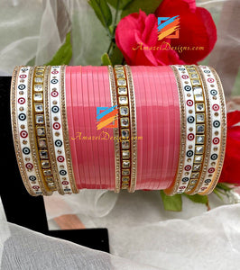 Gajari Choora With Kundan And Bindi Stone Bangles