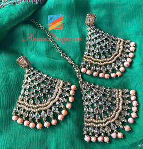 Champage Color Polki With Peach Beads Earring Tikka Set