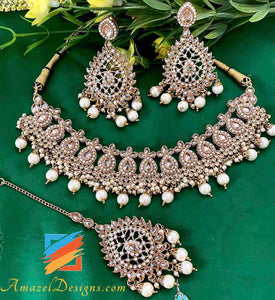 Champagne Color Necklace with Earring Tikka Set