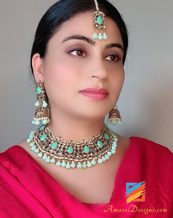 Champagne Color Necklace with Seagreen Stones and Beads Jhumki Earrings Tikka Set