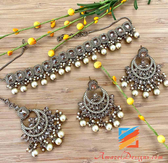 Champagne Color Polki Choker With Earrings and Tikka Set