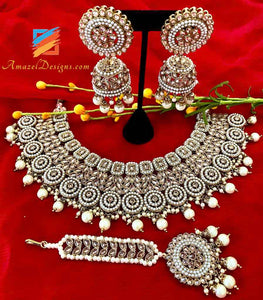 Champagne Color with Cream Beads and Pearls Necklace Jhumki Tikka Set